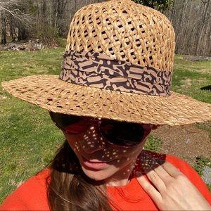 Vintage London Fog straw sun hat, pattern band